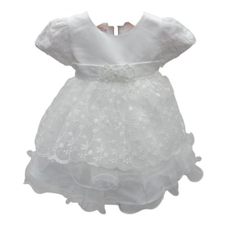 Baby Girls Ivory Floral Embroidered Short Sleeve Flower Girl Dress 18M