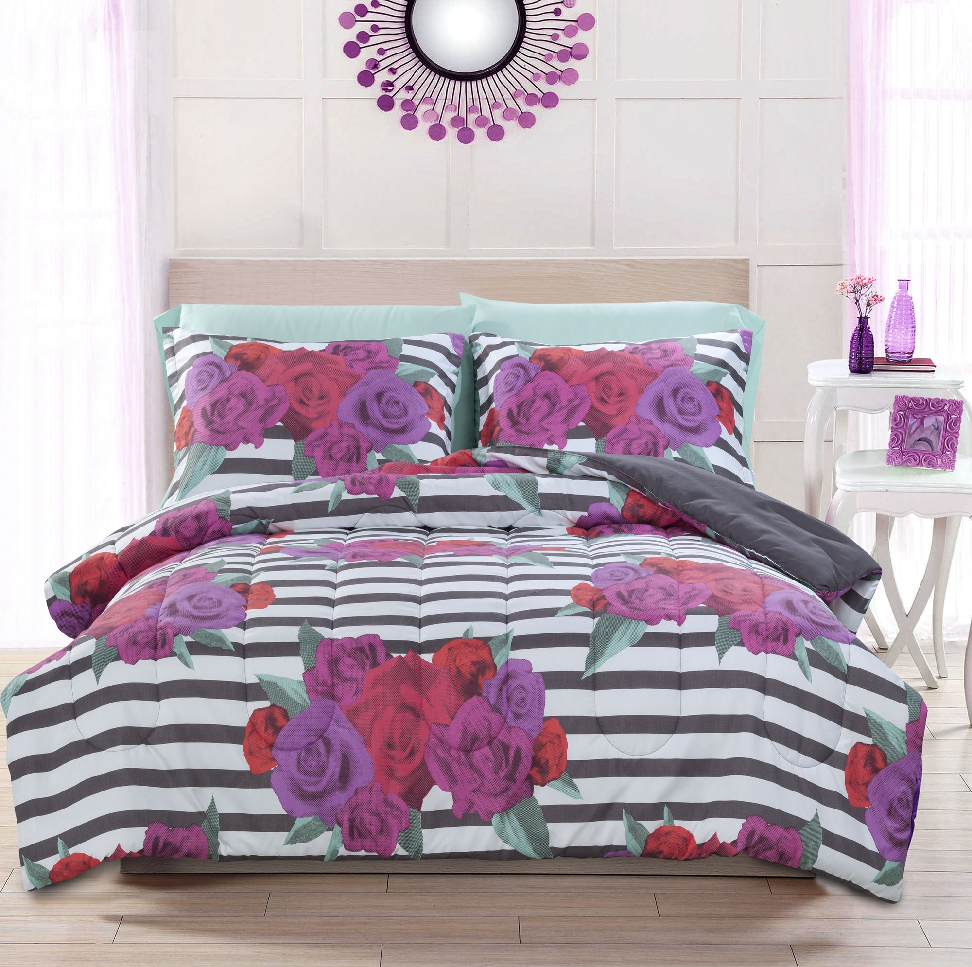 Mainstays Kids Rose Stripe 5 Piece Bed in a Bag