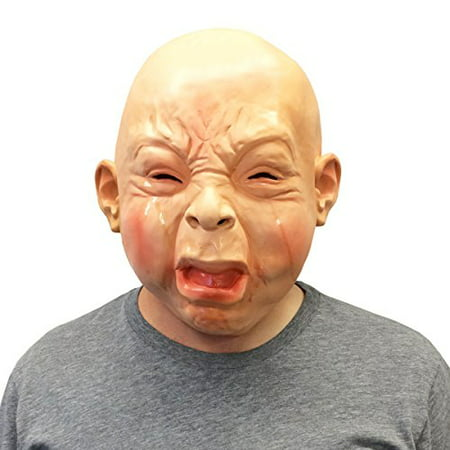 Baby Mask (Creepy Cry Baby Full Head Face Mask Halloween Costume - Off the Wall)