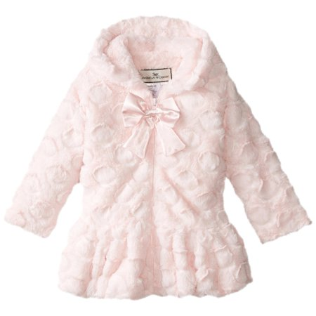 Little Girls' Hooded Big Bow Coat, Candy Dot Pink, Size: - Girls Pink Jackets