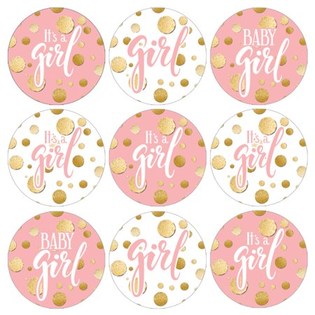 83ad5e70e973e Pink Gold Girl Baby Shower Stickers 216ct - Pink and Gold Its a Girl Baby  Shower Decorations Candy Favors - 216 Count Stickers