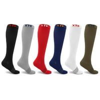 6 Pair Compression Socks for Men and Women Knee High - made for running, athletics, pregnancy and travel