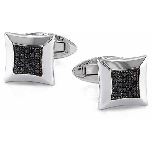1/4 Carat T.W. Black Diamond Sterling Silver Cuff Link