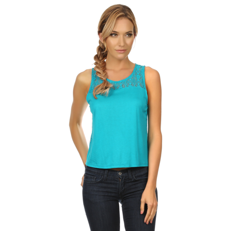 e915c2085fd59 Womens Stretchy Short Lace Crop Top Sleeveless Cami Tank Top Tee Shirt  Blouse - Walmart.com