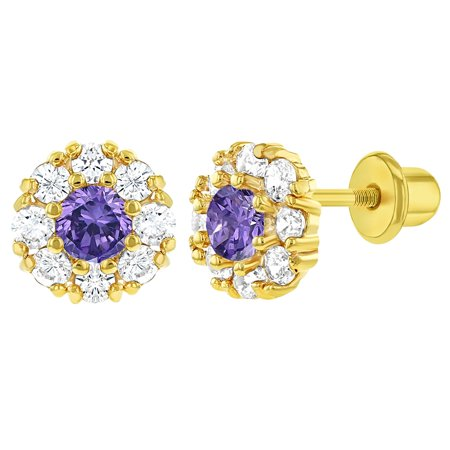 18k Yellow Gold Plated Purple Crystal Flower Screw Back Baby Girls Earrings 6mm - image 1 of 6