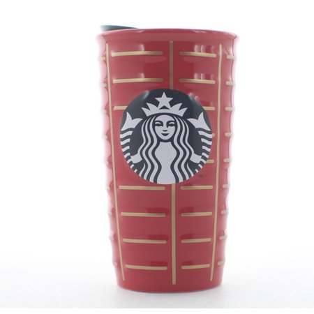 Starbucks 2016 Holiday Siren Ceramic Coffee Travel Tumbler Cup Mug 10 oz. Red