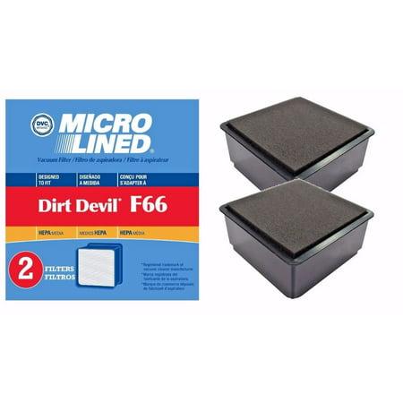 2 Dirt Devil F66 HEPA Filters and Foam Filter Sets For Dirt Devil UD70010 Uprights 304708001 ()