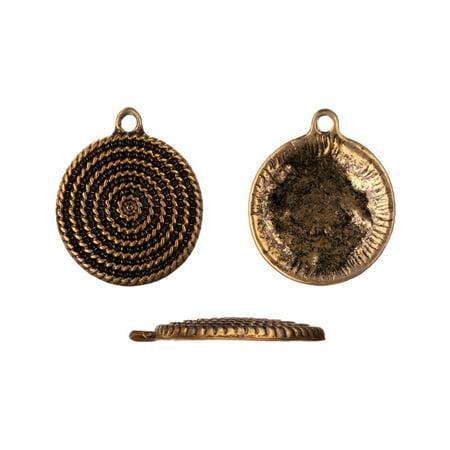 Pendent/Focal, Antiqued Gold-Finished, Spiral Form Target, 20x24mm Round Plate, Sold per pkg of (Best Foundation Sold At Target)