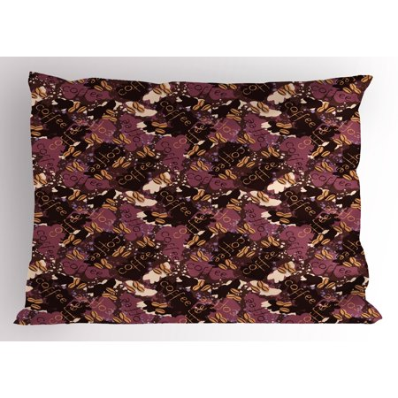 Modern Pillow Sham Coffee Bean Brewed Drink with Color Splashes Illustration, Decorative Standard Size Printed Pillowcase, 26 X 20 Inches, Dried Rose Dark Brown and Chocolate, by (Standard Drink)