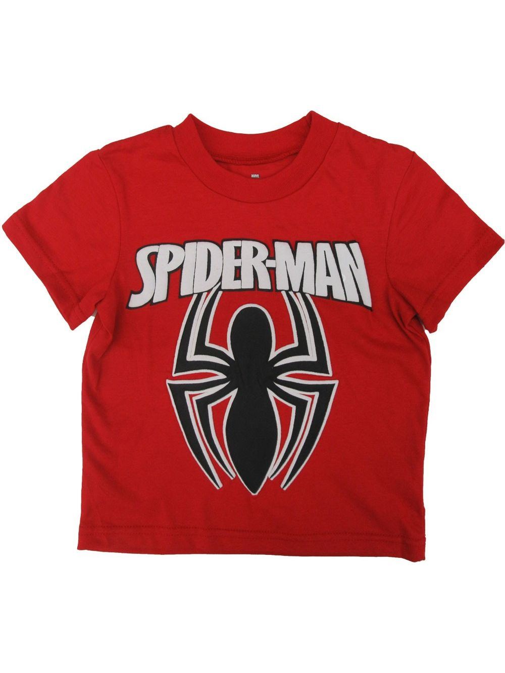 Marvel Little Boys Black Red Spiderman Super Hero Short Sleeved T-Shirt
