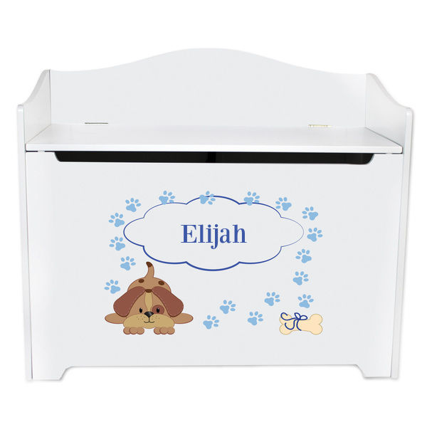 Personalized Blue Puppy Toy Box Bench Custom