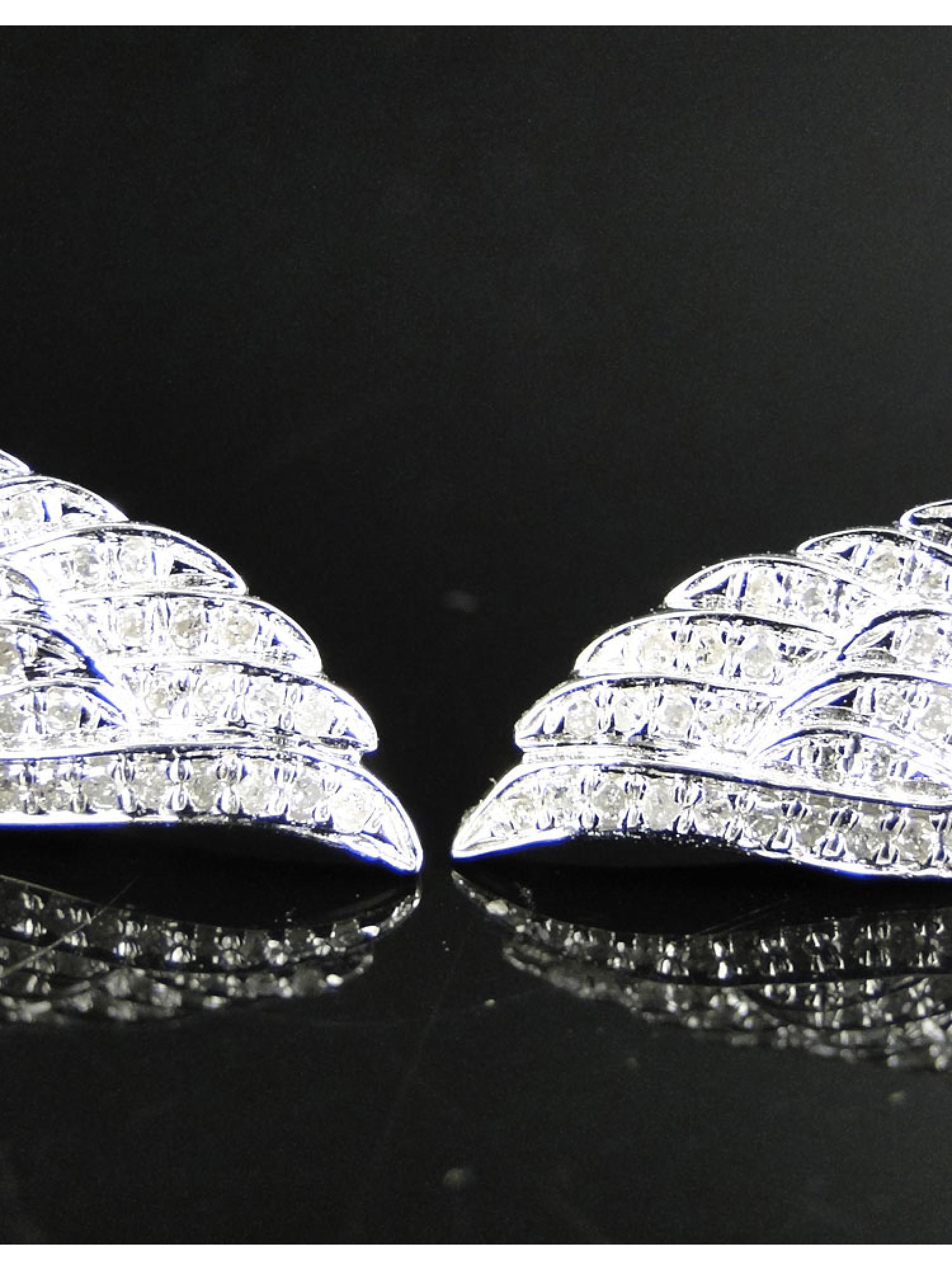 Angel Wing Stud Earrings set in 14k White Gold (0.50 Ct)
