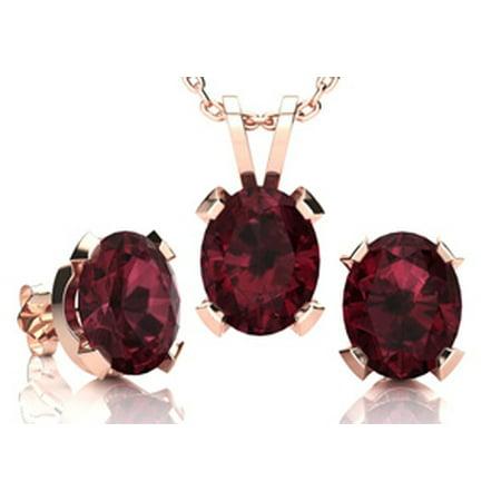 4 1/2 Carat Oval Shape Garnet Necklace and Earring Set In 14K Rose Gold Over Sterling Silver Garnet Necklace And Earring Set
