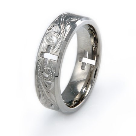 Titanium Handcrafted Floral Style Hollow Cross Wedding Band (Floral Wedding Ring)
