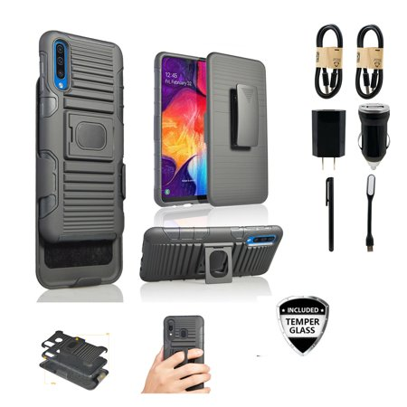~Value Pack~ for Galaxy A50 Case with Clip+Temper Glass Black Rugged Ring and Magnetic Grip Cover + Belt Hip Holster Stand [with Built-in Mounting Plate] for Samsung Galaxy A50 (2019)