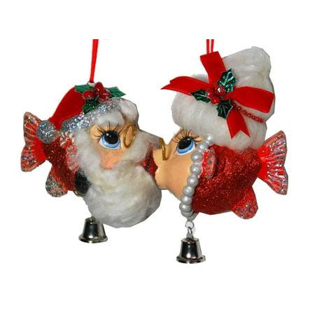 Mr and Mrs Santa Claus Kissing Fish Christmas Ornaments - Mrs Santa Claus