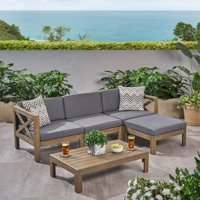 Rayan Outdoor Acacia Wood 5 Piece Sofa Set, Gray and Dark Gray