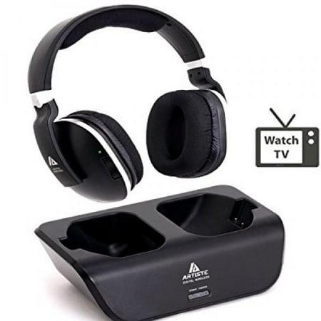 8fb4221d517 Digital Wireless Over-Ear Headphones for TV,Artiste 2.4GHz UHF/RF for TV  Listening,Rechargeable 20 Hour Battery and Headphones Charging Dock-Black.