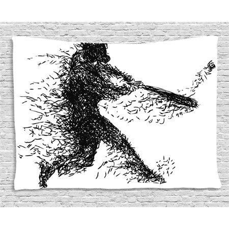 - Black and White Tapestry, Abstract Artistic Illustration of a Baseball Player Posing Grunge Sports, Wall Hanging for Bedroom Living Room Dorm Decor, 60W X 40L Inches, Black White, by Ambesonne