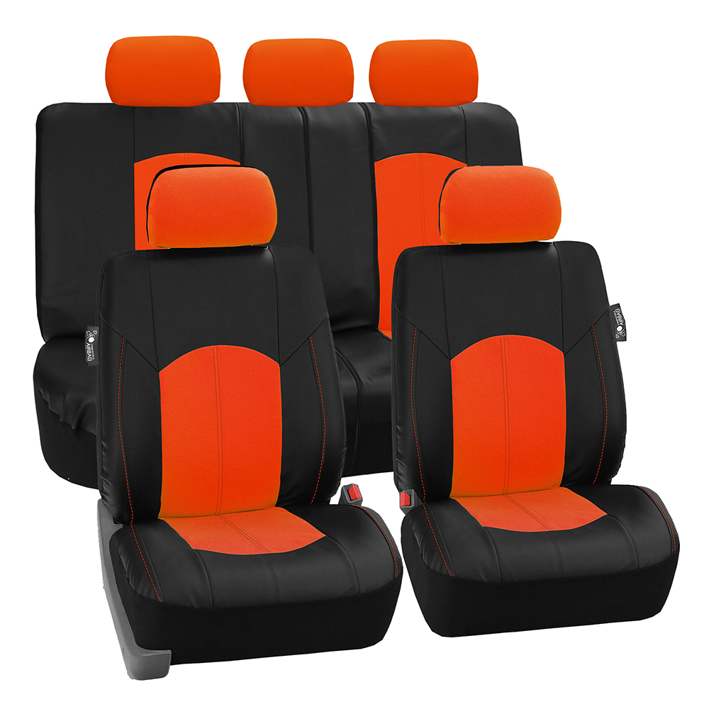 FH GROUP Perforated Leatherette Full Set Car Seat Covers Airbag Ready & Split Bench Function, Orange