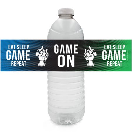 Video Game Party Water Bottle Labels 24ct | Gamer Birthday Decoration Stickers](Hunger Games Birthday Decorations)