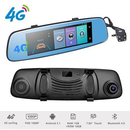 "Podofo 4G Car DVR Backup Camera 7.84"" Android 5.1 Touch Screen ADAS Remote Monitor Rear View Mirror Monitor 1080P Dual Lens Wifi Dashcam GPS Navigation Vehicle Video Recorder"