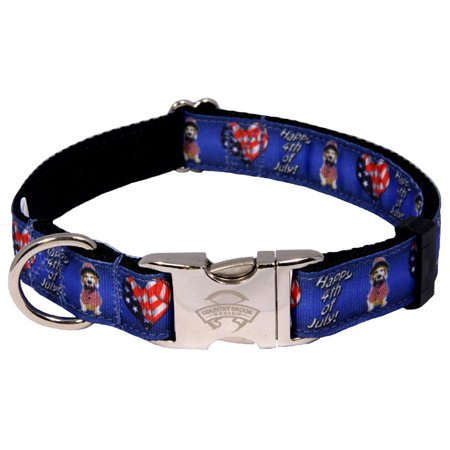 Country Brook Design  Premium 4Th Of July Ribbon Dog Collar