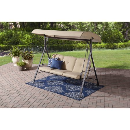 Mainstays Forest Hills 3-Seat Cushion Canopy Porch Swing Buy w/ Pillows and Save
