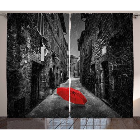 Black and White Decorations Curtains 2 Panels Set, Red Umbrella on Dark Narrow Street in Tuscany Italy Rain, Window Drapes for Living Room Bedroom, 108W X 84L Inches, Black White Red, by Ambesonne