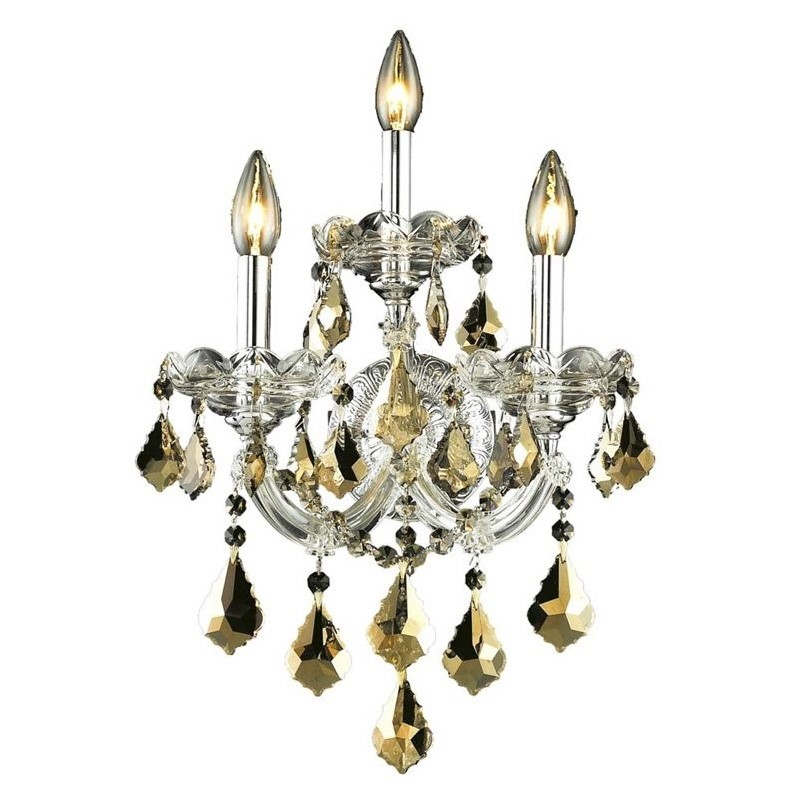 Elegant Lighting Maria Theresa 3 Light Elements Crystal Wall Sconce