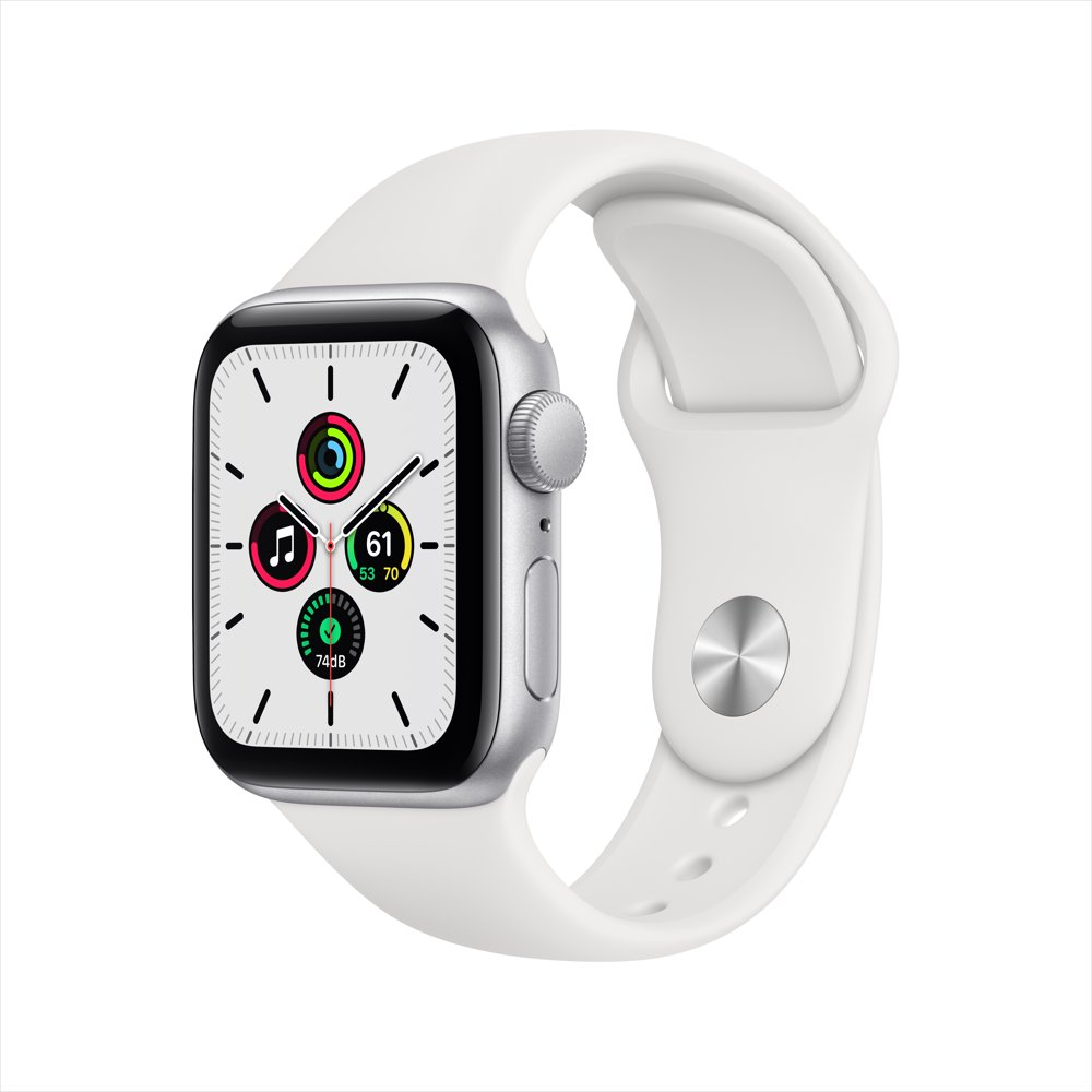 Apple Watch SE GPS, 40mm Silver Aluminum Case with White Sport Band - Regular