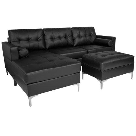 Riverside Flash Furniture Upholstered Tufted Back Sectional With Left Side Facing Chaise Bolster Pillows And Ottoman Set In Black Leather