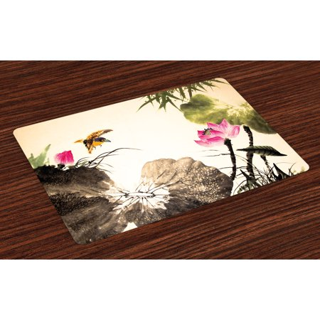 Art Placemats Set of 4 Bird Jumping into a Lotus in a Gloomy Setting Circle of Life Chinese Culture, Washable Fabric Place Mats for Dining Room Kitchen Table Decor,Cream Taupe - Pink And White Table Settings