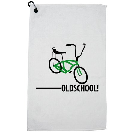 Old School - With Picture of Bicycle Banana Seat Golf Towel with Carabiner Clip