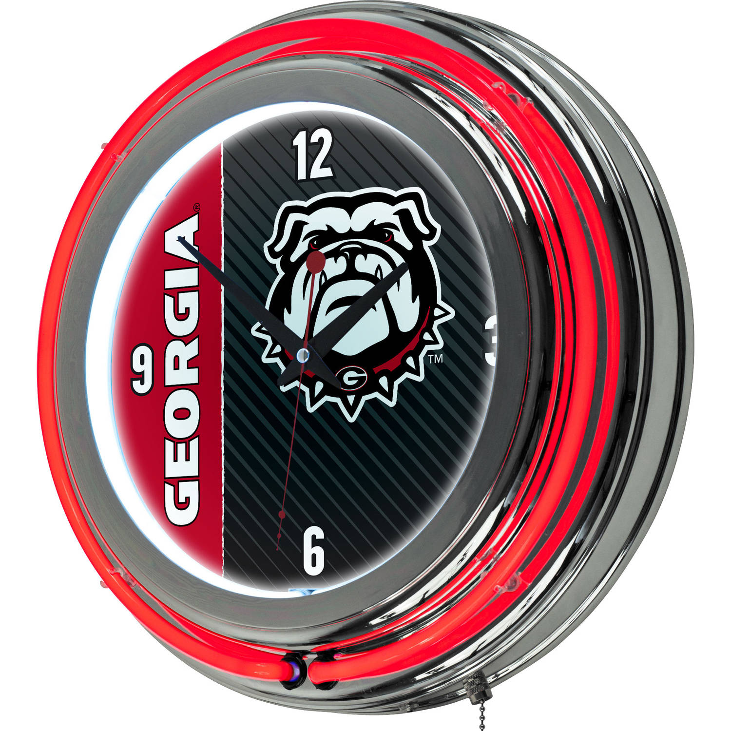 University of Georgia Chrome Double Rung Neon Clock, Text