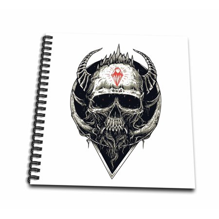 3dRose Black and White Demon Skull with Horns Horror Halloween Abstract Gothic - Drawing Book, 8 by - Halloween Demon Horns