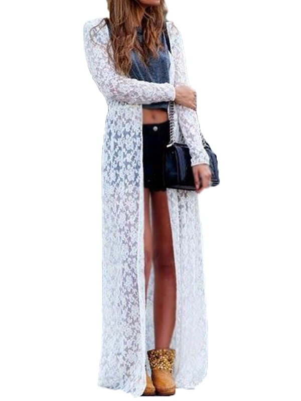 Women's Long Sleeve Elegant Beach Sexy Lace Long Cardigans