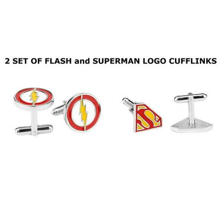 Superheroes DC Comics Superman and Flash Logos (2 Pair) Cufflinks