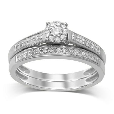 Diamond Jewel 10K Gold 1/4 Cttw White Diamond Cluster Bridal Set