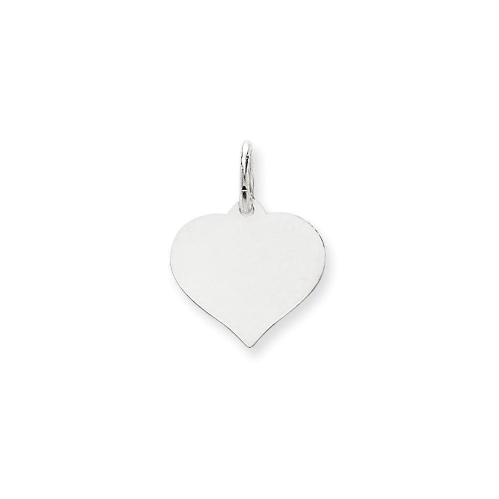 14K White Gold Heart Disc Charm (0.7in long x 0.5in wide)