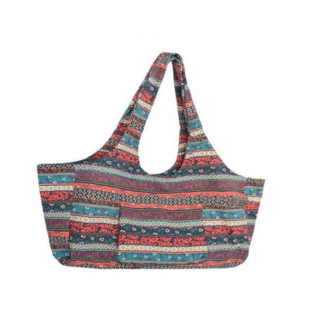 Michellem Large Yoga Mat Bags Bohemian Ethnic Style Print Canvas Yoga Mat Carrier Tote Bag Sport Gym Storage Bag with Small Interior Zipper Pocket ()