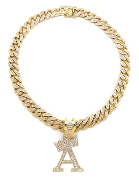 """Hip Hop Fashion Crown Initial A-Z Personalized Necklace with Gold Tone Box Lock Cuban Chain, 18"""""""