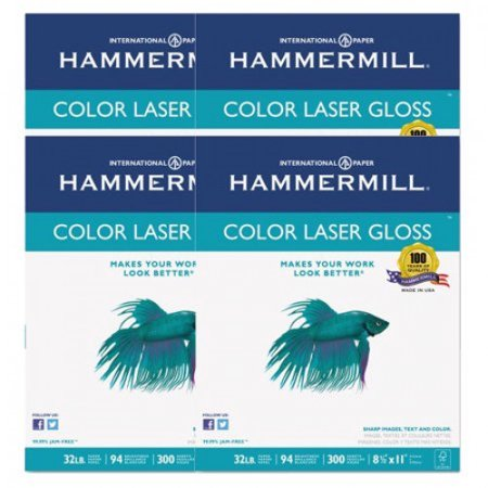 Hammermill 300 Sheets/Pack Letter Size White Color Laser Gloss Paper, 4 Pack