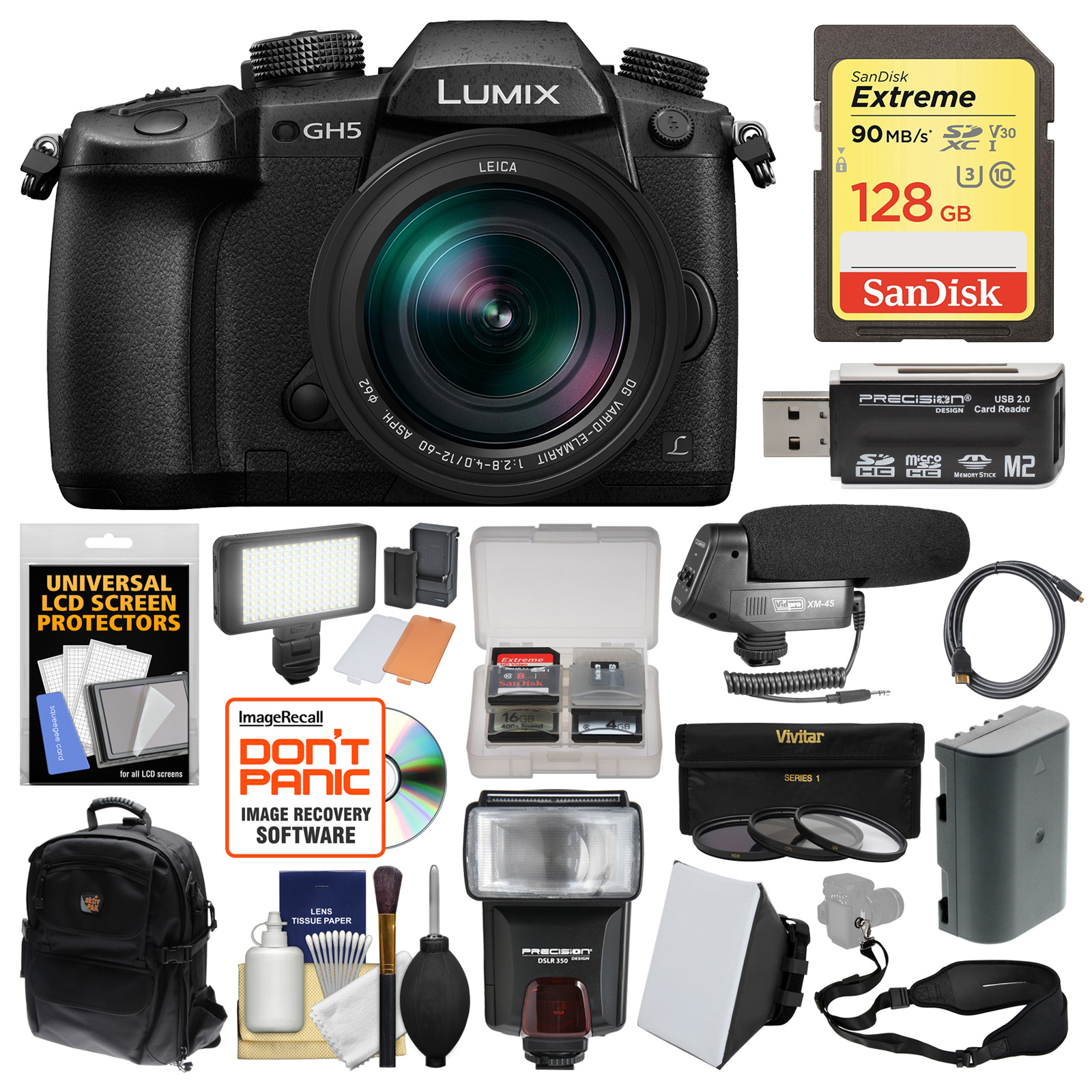 Panasonic Lumix DC-GH5 Wi-Fi 4K Digital Camera & 12-60mm f 2.8-4.0 Lens with 128GB Card + Backpack + Flash +... by Panasonic