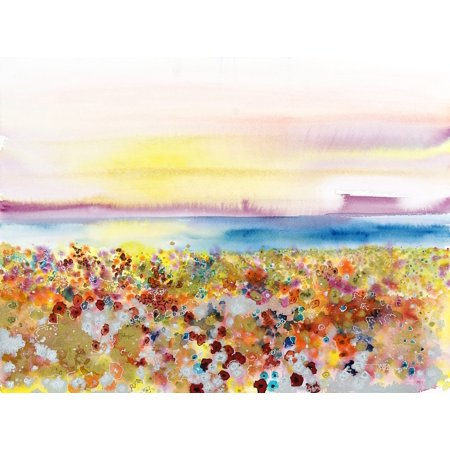Field Of Joy Abstract Landscape Of Bejeweled Field Of Flowers (Watercolor Painting) PosterPrint
