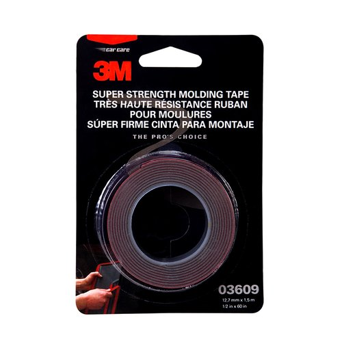 3M Super Strength Molding Tape, 1/2 in x 5 ft