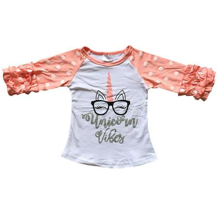 Little Girls' Ruffle Sleeve Unicorn Glasses School Kids Summer Top T Shirt Tee White 2T XS (P318447P)](School Girl Top)