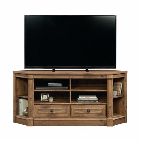 "Sauder Palladia Corner Entertainment Credenza for TVs up to 60"", Vintage Oak Finish"