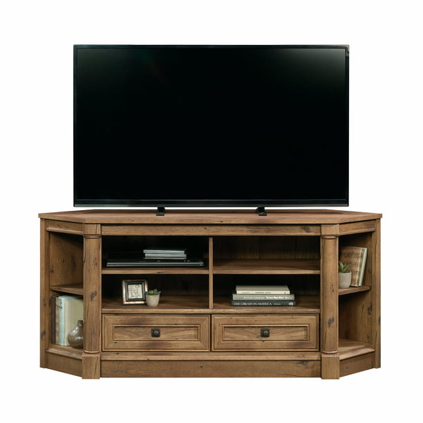 "Sauder Palladia Corner TV Stand for TVs up to 60"", Vintage Oak Finish"