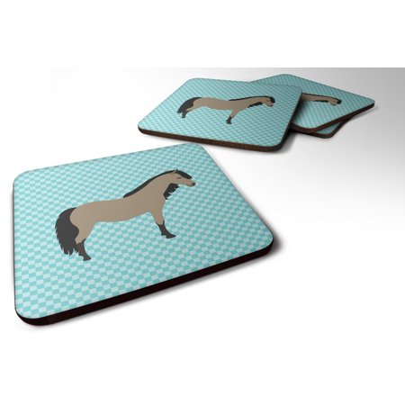 Set of 4 Welsh Pony Horse Blue Check Foam Coasters Set of 4